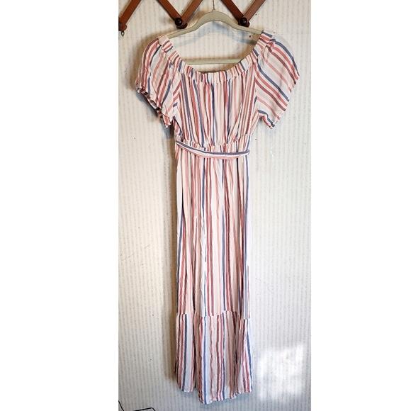 Isabel Maternity Dress XS Striped Belted Ruffles